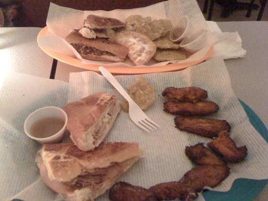 Aroma Cafe: cuban sandwich and sweet plantains; another sandwich (I forget which) with savory plantains. rea