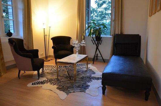 Château de Degrés : chambre//espace salon