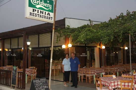 Pernera, ไซปรัส: Spyros and Eleftaria - Owners of the family restaurant with all home made cooking