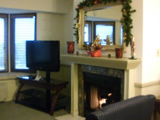 The Historic Santa Maria Inn: Fireplace and TV
