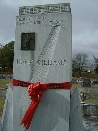 """Hank Williams Memorial - Oakwood Annex Cemetery: The Georgia Marble Monument is inscribed with his song """"I saw the Light"""" with was his funeral so"""
