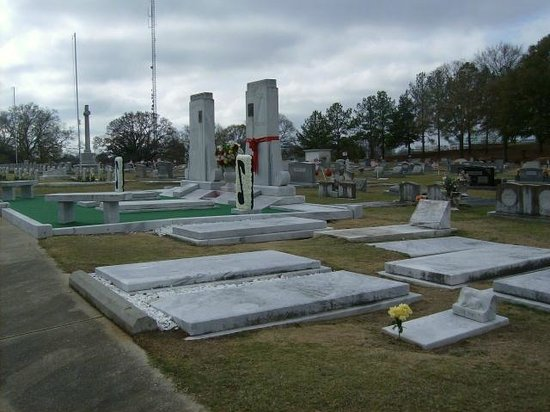 Hank Williams Memorial - Oakwood Annex Cemetery: View from the right over the other family members graves.