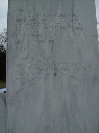 Hank Williams Memorial - Oakwood Annex Cemetery: Inscription on the back of Audrey's Monument from Hank jr and sister Lycrecia