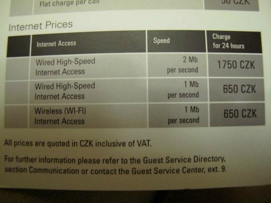 Hilton Prague: Most expensive internet I have seen (19CZK=1USD)