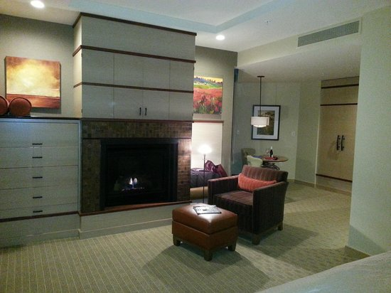 Allison Inn & Spa: Rm 416 from bed, fireplace, sitting and dressing areas, TV above fireplace
