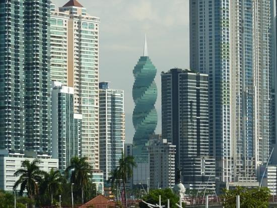 Panama City's skyline from the Cinta Costera (coastal way), formerly Avenida Balboa