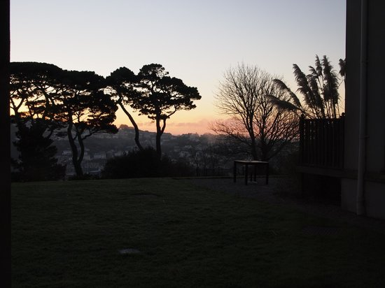 Fowey Hall: View of the sunrise from our room