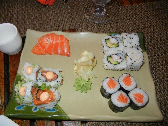 Fung Ku: Salmon Sashimi, Salmon Roll, Spicy Tuna Roll, California Roll