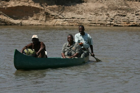 Crossing the Luangwa to access Chikoko & Crocodile River Camp walking trails areas