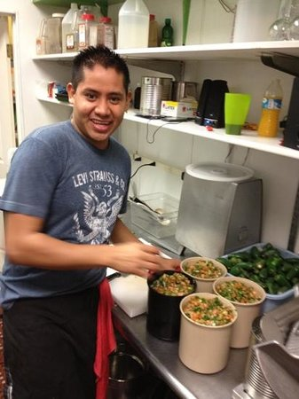El Compadre: ezequiel finishing his daily batch of famous salsa!