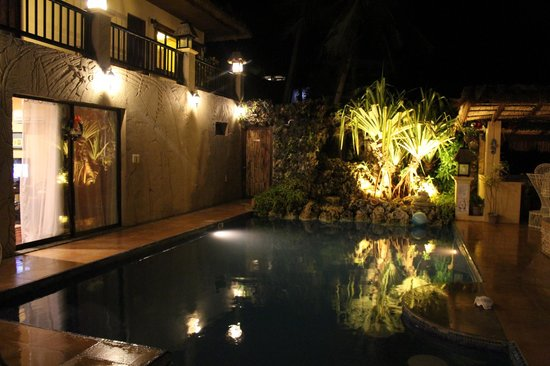 Palm Breeze Villa Boracay Hotel: pool at night