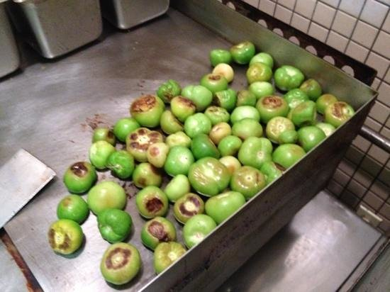 El Compadre: Roasted tomatillos for salsa!