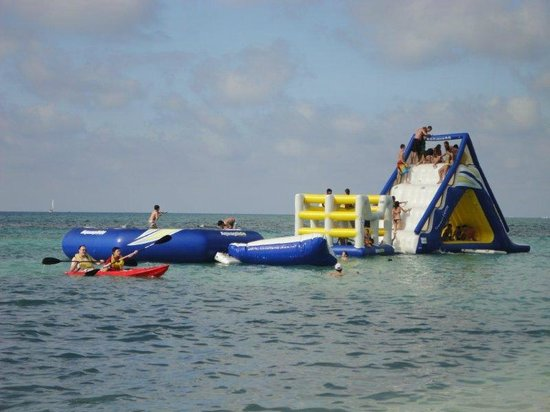 West Bay Beach: floating devices for kids fun