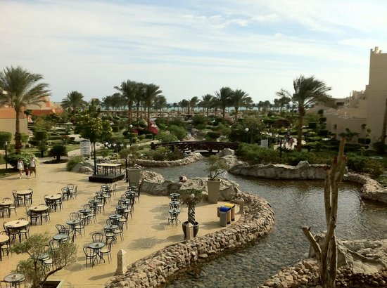 Coral Sea Waterworld Resort: View over grounds from outside reception.