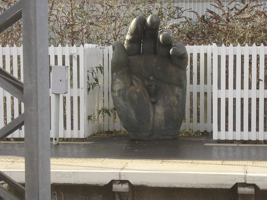 """Stoke-on-Trent Railway Station : Stoke on Trent Railway Station; statue of """"Hand with Chronos"""" southern end of platform two"""