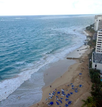 San Juan Marriott Resort & Stellaris Casino: View from the 16th floor ocean front room.