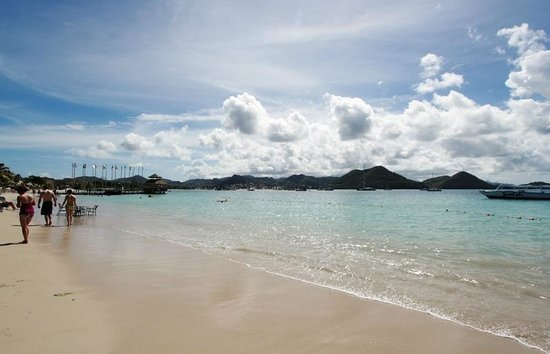Sandals Grande St. Lucian Spa & Beach Resort: Beach and view of Rodney Bay