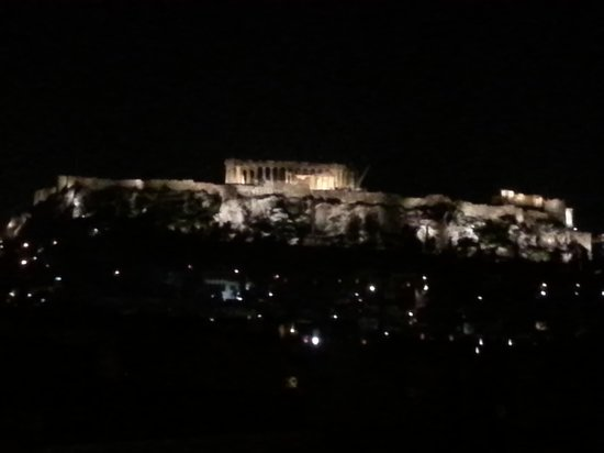 Athens Center Square: View of the Acropolis from the Roof terrace at night