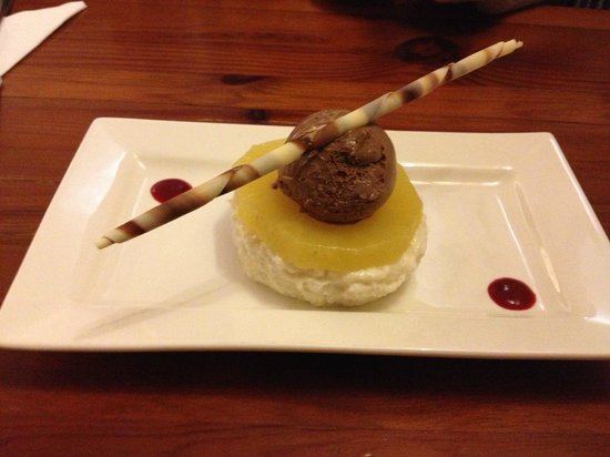 Coasters: Dessert: Chilled coconut and Malibu rice pudding, poached pineapple, chocolate and mascapone gel