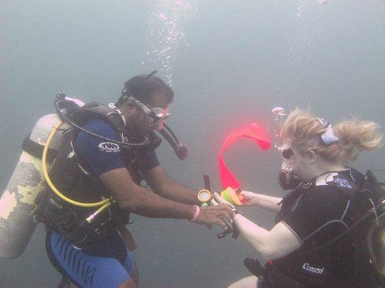 Submarine Diving School: Shirly helping me with the SMB