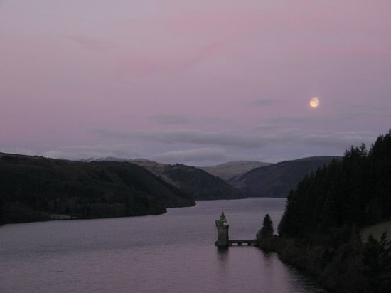 Lake Vyrnwy Hotel & Spa: View from our room at night