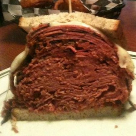 Route 58 Delicatessen: Half of the Pastrami & Corned Beef on Rye with Melted Provolone.