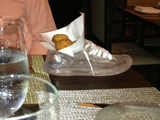 Mi Casa by Jose Andres: Chicken croquettes served in a glass slipper dish!
