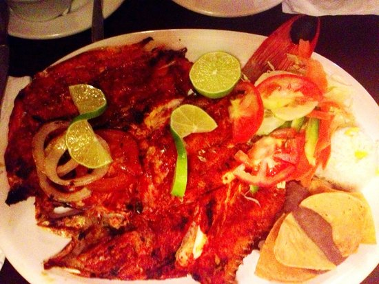 Don Chepo : delicious fish with sauce, rice, salad...