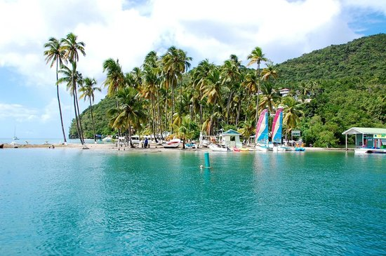 Sandals Regency La Toc: Beach across from marina at Marigot Bay