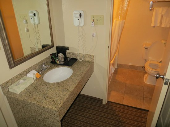 La Quinta Inn & Suites Indianapolis Downtown : Bathroom and sink area