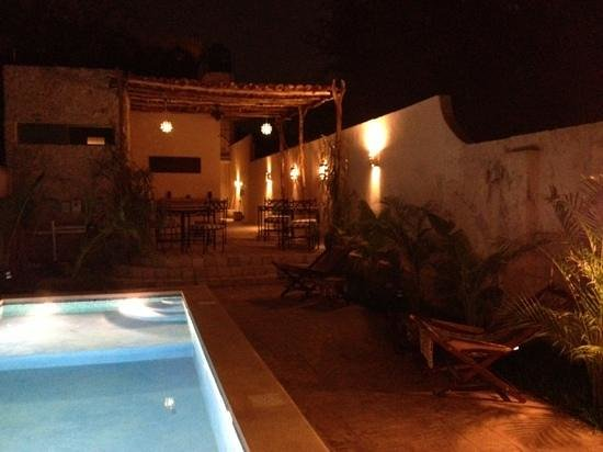 Casa Del Maya: the pool and patio at night taken from our room