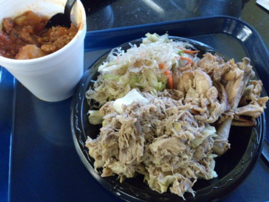 Hawaii's Island Eatery: 3 item plate : kalua pork, chickens stew, chicken adobo and rice noodles chowmein