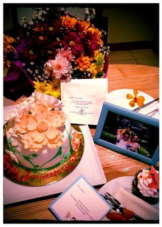 Discovery Shores Boracay: Our wedding anniversary cake, flowers for me, photo from our last trip and cupcake for my little