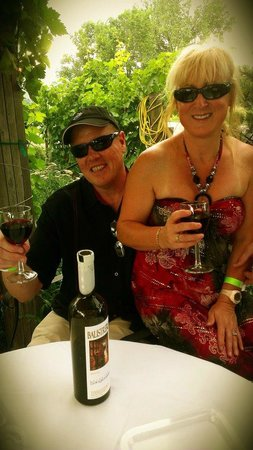 Balistreri Vineyards: My husband and enjoying some wine on the outside padio @ Italian Movie Night 2012