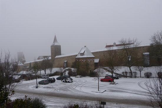 Hotel-Garni Hornburg : Snowy view from our window