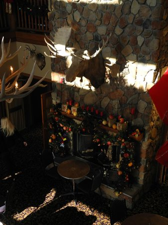 Lodge at Grant's Trail by Orlando's: Moose surveys the dining area dcorated for Christmas