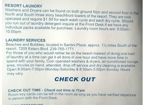 Sandpiper Gulf Resort : Some info on establishment from their in room guide