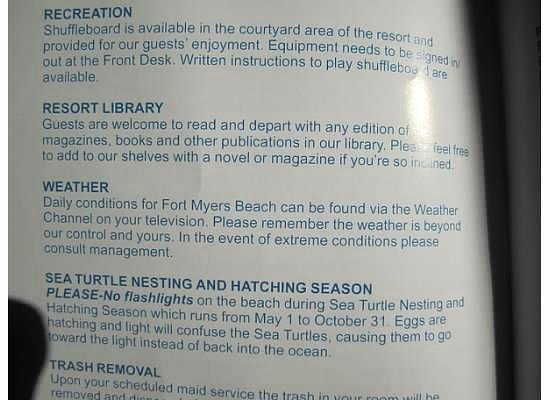 Sandpiper Gulf Resort: Some info on establishment from their in room guide