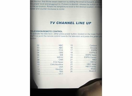 Sandpiper Gulf Resort: TV Channel line up