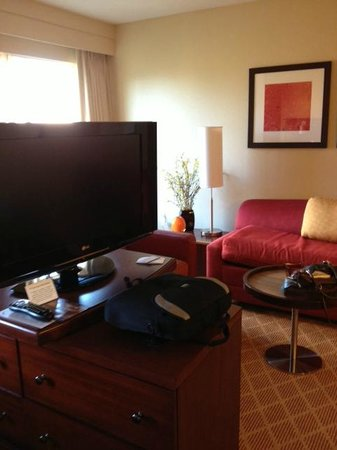 Residence Inn Sacramento Downtown at Capitol Park: Living area of our suite, showing the flat screen on its swiveling base
