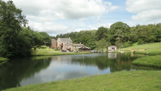 Lake View Cottage: View across lake to the main house and cottage