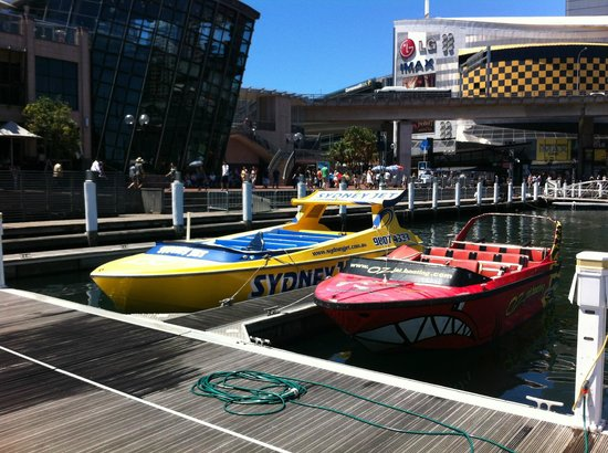 Oz Jet Boating Sydney Harbour: Boats at Cockle Bay Wharf Darling Harbor