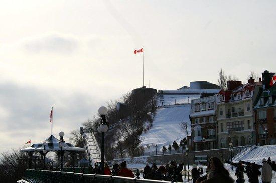 Old Quebec: Man made luge for sledding and tobogging