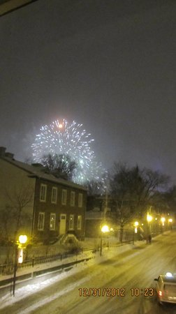 Manoir de L'Esplanade: View of the New Year's celebration up the street.
