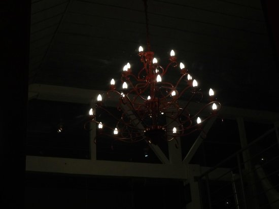 L'Adresse - Cuisine by Tinay: Mirror image of chandelier ... hand-made we thought
