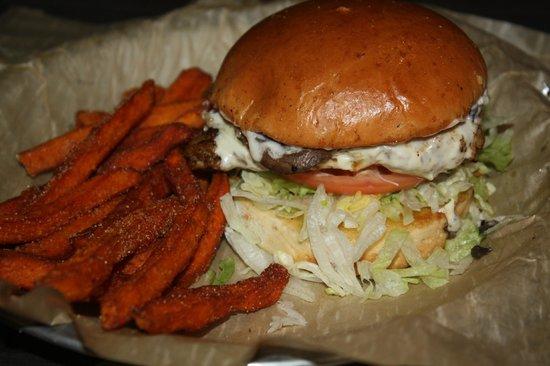 Freakin' Unbelievable Burgers: Drunken' Mushroom with Sweet Potatoe Fries
