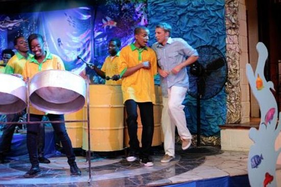 Sandals Montego Bay: Husband dancing with the Steel Drum Band on stage! Hoot!