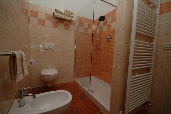Bagno di lusso moderno con la cabina e la finestra della doccia