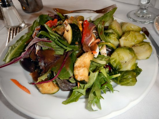 Crossroads Chapel Hill: Salad, roasted vegetables, and Brussels sprouts