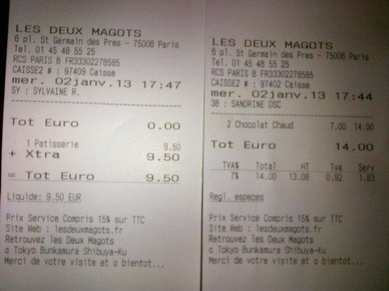 Cafe Les Deux Magots: la cuenta